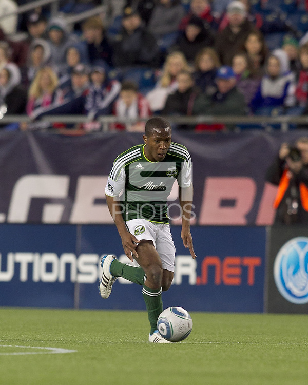 Portland Timbers forward Darlington Nagbe (6). In a Major League Soccer (MLS) match, the New England Revolution tied the Portland Timbers, 1-1, at Gillette Stadium on April 2, 2011.