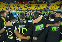 The Hurricanes huddle after the Super Rugby match between the Hurricanes and Rebels at Westpac Stadium in Wellington, New Zealand on Saturday, 4 May 2019. Photo: Dave Lintott / lintottphoto.co.nz