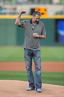 Former Major League Baseball pitcher and 1993 American League Cy Young Award winner Jack McDowell acknowledges the crowd prior to throwing out a ceremonial first pitch before the International League game between the Durham Bulls and the Charlotte Knights at BB&T BallPark on April 14, 2016 in Charlotte, North Carolina.  The Bulls defeated the Knights 2-0.  (Brian Westerholt/Four Seam Images)