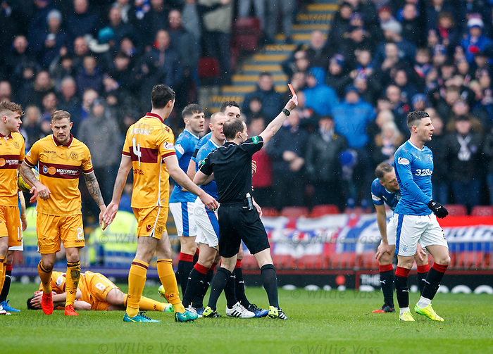 Michael O'Halloran sent off by ref Willie Collum