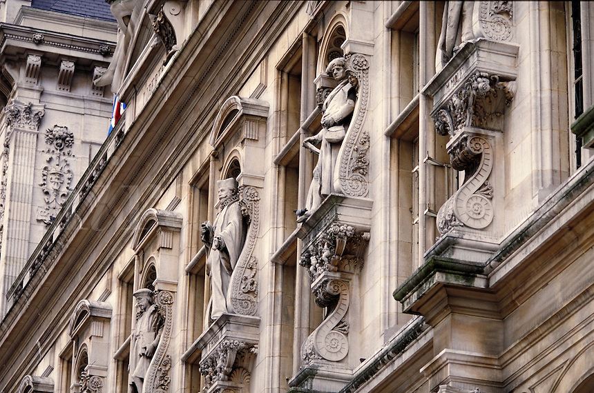 Architecture of City Hall, Paris, France. Paris, France.
