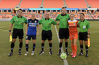 Houston, TX - Sunday June 19, 2016: Nick Uranga, Becky Sauerbrunn, Leszek Stalmach, Matthew Franz, Kealia Ohai, Deleana Quan prior to a regular season National Women's Soccer League (NWSL) match between the Houston Dash and FC Kansas City at BBVA Compass Stadium.
