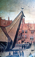 Bruges: The Great Crane. Detail, from a portrait, 1551. Reference only.