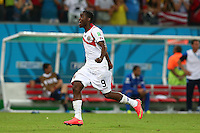 Joel Campbell of Costa Rica  celebrates winning the penalty shoot out and progressing to the quarter finals