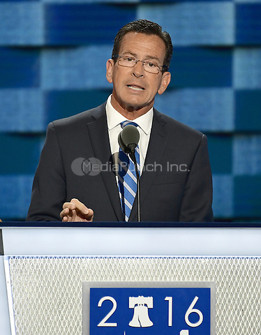 Governor Dannel Malloy (Democrat of Connecticut) makes remarks at the 2016 Democratic National Convention at the Wells Fargo Center in Philadelphia, Pennsylvania on Monday, July 25, 2016.<br /> Credit: Ron Sachs / CNP/MediaPunch<br /> (RESTRICTION: NO New York or New Jersey Newspapers or newspapers within a 75 mile radius of New York City)