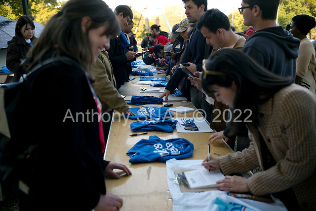 Queens, New York<br /> Queensbridge Park<br /> October 19.2019<br /> <br /> Young voters sign up to volunteer for Senator Bernie Sanders after his first major campaign rally since suffering from a heart attack earlier this month in Queensbridge Park. <br /> <br /> Congresswoman New York Rep. Alexandria Ocasio-Cortez endorses Sanders for US President at the rally.<br /> <br /> An estimated 26,000 people attended the event according to the Sanders campaign.