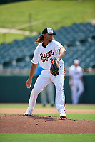 Bowie Baysox pitcher Marcos Molina (29) during an Eastern League game against the Akron RubberDucks on May 30, 2019 at Prince George's Stadium in Bowie, Maryland.  Akron defeated Bowie 9-5.  (Mike Janes/Four Seam Images)