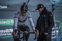 Wout Van Aert (BEL/Crelan-Willems) warming up under the watchful eye of Niels Albert<br /> <br /> Krawatencross Lille 2017