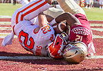 Florida State defensive back A.J. Lytton steals a Clemson pass from the arms of Clemson wide receiver Will Swinney in the end zone for an interception and touchback in the second half of an NCAA college football game in Tallahassee, Fla., Saturday, Oct.27, 2018. Clemson defeated Florida State 59-10. (AP Photo/Mark Wallheiser)