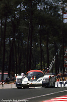 LE MANS, FRANCE: The Porsche 956 of Jochen Mass and Vern Schuppan is driven toward Tertre Rouge during the 24 Hours of Le Mans on June 20, 1982, at Circuit de la Sarthe in Le Mans, France.