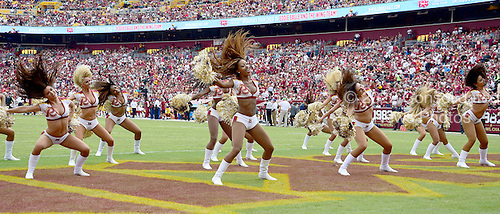 Washington Redskins cheerleaders perform between the first and second quarters during the game against the Cleveland Browns at FedEx Field in Landover, Maryland on October 2, 2016.<br /> Credit: Ron Sachs / CNP