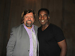"""All My Children and As The World Turns Norm Lewis stars as """"Prospero"""" in Shakespeare In The Park's The Tempest on September 8, 2013 at the de la Court Theatre Central Park, New York City, New York. Oskar Eustis is the artistic director of The Public Theatre and poses with Norm. (Photo by Sue Coflin/Max Photos)"""
