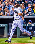 16 September 2017: Colorado Rockies center fielder Charlie Blackmon comes home to score against the San Diego Padres at Coors Field in Denver, Colorado. The Rockies shut out the Padres in a 16-0 route of the second game in their 3-game divisional series. Mandatory Credit: Ed Wolfstein Photo *** RAW (NEF) Image File Available ***