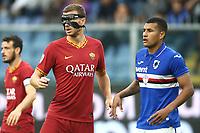 Edin Dzeko of AS Roma with a mask , Jeison Murillo Sampdoria <br /> Genova 20-10-2019 Stadio Luigi Ferraris <br /> Football Serie A 2019/2020 Sampdoria - AS Roma <br /> Photo Gino Mancini / Insidefoto
