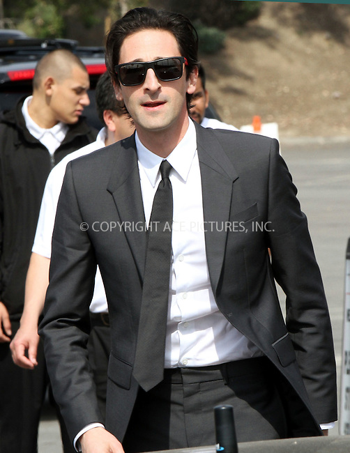 WWW.ACEPIXS.COM<br /> <br /> February 21 2015, Los Angeles CA<br /> <br /> Actor Adrien Brody arriving at the 2015 Film Independent Spirit Awards at Santa Monica Beach on February 21, 2015 in Santa Monica, California.<br /> <br /> <br /> Please byline: Nancy Rivera/ACE Pictures<br /> <br /> ACE Pictures, Inc.<br /> www.acepixs.com, Email: info@acepixs.com<br /> Tel: 646 769 0430