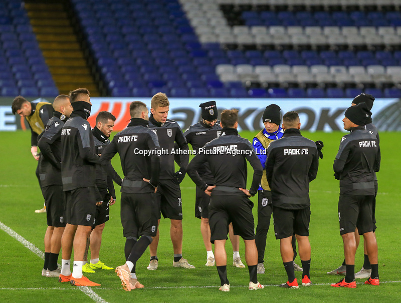 PAOK players during training and press conference at Stamford Bridge, London