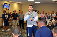 12 August 2011:  FIU Football Head Coach Mario Cristobal addresses fans during the FIU 2011 Panther Preview at University Park Stadium in Miami, Florida.