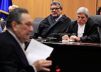 Lo scrittore e magistrato Giancarlo De Cataldo in veste di giudice a latere, al centro, ed il Presidente della Corte d'Assise d'appello Mario Lucio D'Andria ascoltano l'arringa dell'Avvocato Franco Coppi, a sinistra, durante l'udienza conclusiva del processo per il delitto di Via Poma, presso la Corte d'Appello di Roma, 27 aprile 2012..UPDATE IMAGES PRESS/Riccardo De Luca