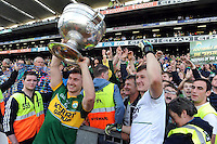 Kerry players James O'Donoghue and Brian Kelly celebrate after winning the All-Ireland Football Final against Donegal in Croke Park 2014.<br /> Photo: Don MacMonagle<br /> <br /> <br /> Photo: Don MacMonagle <br /> e: info@macmonagle.com