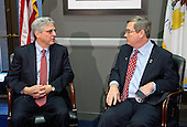 United States Senator Mark Kirk (Republican of Illinois), right, meets Judge Merrick Garland, chief justice for the US Court of Appeals for the District of Columbia Circuit, left, who is US President Barack Obama's selection to replace the late Associate Justice Antonin Scalia on the US Supreme Court, left, as the Judge arrives for a photo op on Capitol Hill in Washington, DC on Tuesday, March 29, 2016.  Kirk is the first GOP Senator to meet with Garland.<br /> Credit: Ron Sachs / CNP