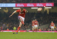 Wales Gareth Anscombe converts a try <br /> <br /> Photographer Ian Cook/CameraSport<br /> <br /> 2018 NatWest Six Nations Championship - Wales v Italy - Sunday 11th March 2018 - Principality Stadium - Cardiff<br /> <br /> World Copyright &copy; 2018 CameraSport. All rights reserved. 43 Linden Ave. Countesthorpe. Leicester. England. LE8 5PG - Tel: +44 (0) 116 277 4147 - admin@camerasport.com - www.camerasport.com