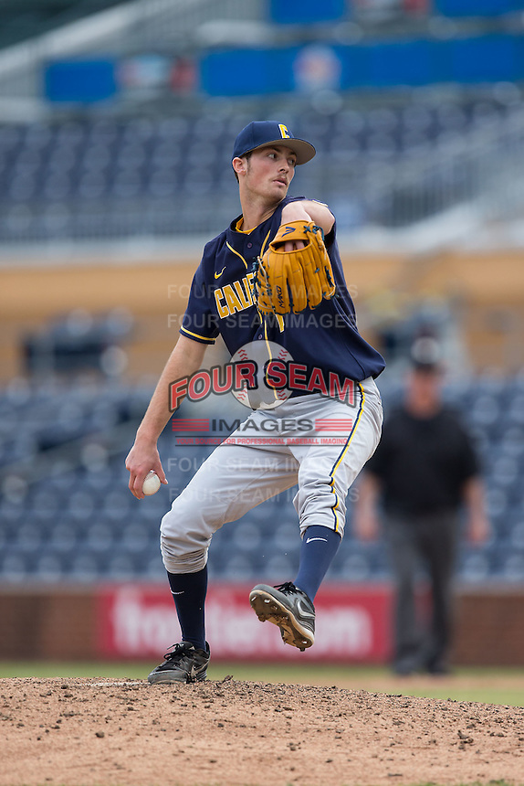 California Golden Bears relief pitcher Tanner Dodson (19) in action against the Duke Blue Devils at Durham Bulls Athletic Park on February 20, 2016 in Durham, North Carolina.  The Blue Devils defeated the Golden Bears 6-5 in 10 innings.  (Brian Westerholt/Four Seam Images)