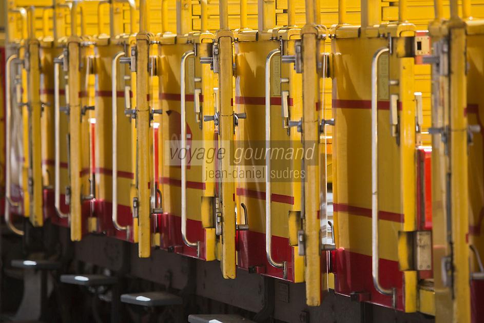 Europe/France/Languedoc-Roussillon/66/Pyrénées-Orientales/Conflent/Villefranche-de-Conflent: Lagare d'ou part  le Train jaune de Cerdagne - détail  Voiture  panoramique  découverte