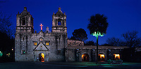 Mission Concepción at christmas time, San Antonio Missions National Historic Park, San Antonio,Texas, USA