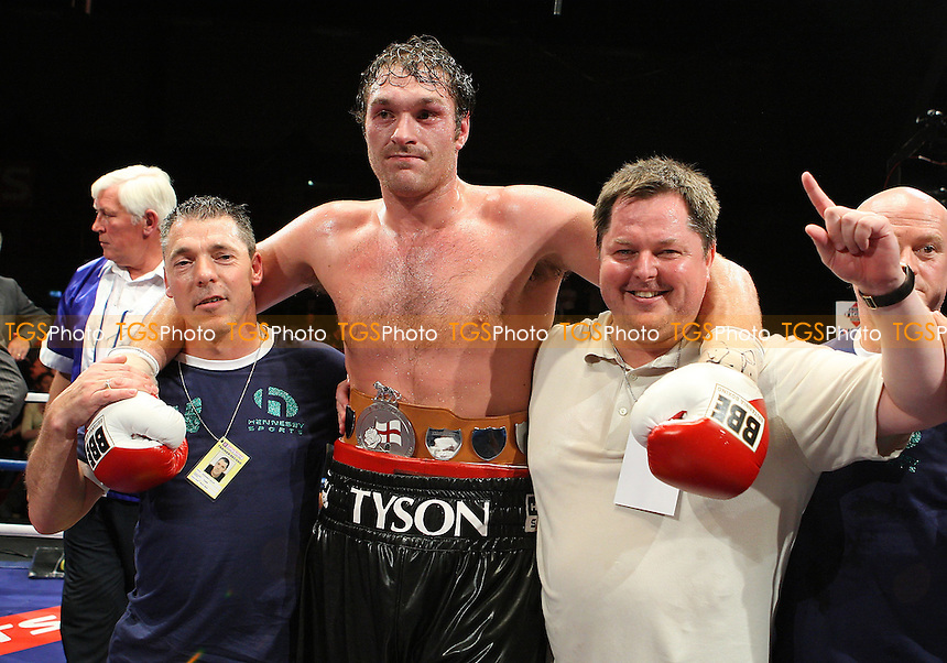 Tyson Fury (black shorts) defeats John McDermott in a Heavyweight Boxing contest for the English Title at the Brentwood International Centre, promoted by Maloney Promotions - 11/09/09 - MANDATORY CREDIT: Gavin Ellis/TGSPHOTO - Self billing applies where appropriate - Tel: 0845 094 6026