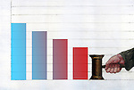 Illustrative image of bar graph representing bankruptcy