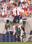 26 May 2006: Chris Albright (USA) (2) outjumps Jose Torrealba (VEN) (behind) and heads the ball. The United States Men's National Team defeated their counterparts from Venezuela 2-0 at Cleveland Browns Stadium in Cleveland, Ohio in a men's international friendly soccer game.