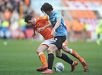 Blackpool's Matthew Virtue under pressure from Southend United's Sam Hart<br /> <br /> Photographer Kevin Barnes/CameraSport<br /> <br /> The EFL Sky Bet League One - Blackpool v Southend United - Saturday 9th March 2019 - Bloomfield Road - Blackpool<br /> <br /> World Copyright © 2019 CameraSport. All rights reserved. 43 Linden Ave. Countesthorpe. Leicester. England. LE8 5PG - Tel: +44 (0) 116 277 4147 - admin@camerasport.com - www.camerasport.com