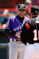 May 31, 2009:  Manager Mike Sarbaugh of the Akron Aeros during a game at Jerry Uht Park in Erie, NY.  The Aeros are the Eastern League Double-A affiliate of the Cleveland Indians.  Photo by:  Mike Janes/Four Seam Images