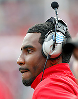 Ohio State Buckeyes quarterback Braxton Miller (5) walks the sidelines after missing  the game against Florida A&M Rattlers during their college football game at Ohio Stadium on September 21, 2013.  (Dispatch photo by Kyle Robertson)