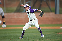 High Point Panthers relief pitcher Brady Pearre (2) makes a throw to first base against the Campbell Camels at Williard Stadium on March 16, 2019 in  Winston-Salem, North Carolina. The Camels defeated the Panthers 13-8. (Brian Westerholt/Four Seam Images)