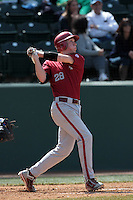 Collin Slaybaugh #28 of the Washington State Cougars bats against the UCLA Bruins at Jackie Robinson Stadium on March 24, 2012 in Los Angeles,California. UCLA defeated Washington 12-3.(Larry Goren/Four Seam Images)
