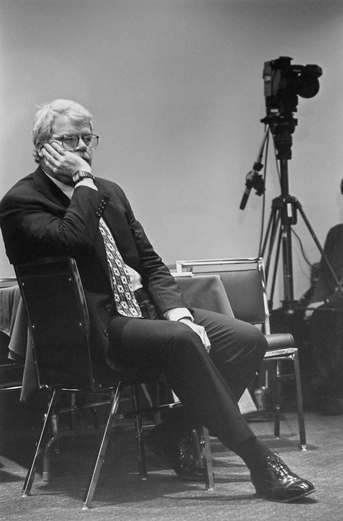 Rep. George Miller, D-Calif., waiting enthusiastically to testify before Joint Committee on Organization of Commerce, on April 22, 1993. (Photo by Maureen Keating/CQ Roll Call via Getty Images)