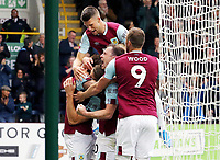 Burnley's Jeff Hendrick is mobbed by team-mates after scoring the opening goal<br /> <br /> Photographer Rich Linley/CameraSport<br /> <br /> The Premier League - Burnley v Everton - Saturday 5th October 2019 - Turf Moor - Burnley<br /> <br /> World Copyright © 2019 CameraSport. All rights reserved. 43 Linden Ave. Countesthorpe. Leicester. England. LE8 5PG - Tel: +44 (0) 116 277 4147 - admin@camerasport.com - www.camerasport.com