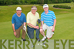 Donal Galvin, Abbeydorney, Larry Meanly Kerry Head and David Leen, Ballyheigue, taking part in the President's prize at Ballyheigue golf club on Sunday..   Copyright Kerry's Eye 2008