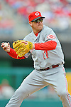 12 April 2012: Cincinnati Reds infielder Scott Rolen in action against the Washington Nationals at Nationals Park in Washington, DC. The Nationals defeated the Reds 3-2 in 10 innings to take the first game of their 4-game series. Mandatory Credit: Ed Wolfstein Photo