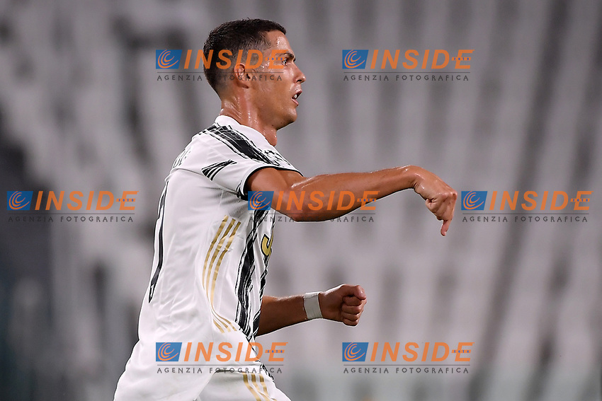 Cristiano Ronaldo of Juventus celebrates after scoring the goal of 2-1 during the Champions League round of 16 second leg football match between Juventus FC and Lyon at Juventus stadium in Turin (Italy), August 7th, 2020. <br /> Photo Federico Tardito / Insidefoto