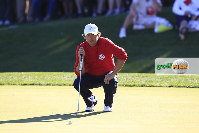 USA Team Player Jason Dufner on the 16th green during Sunday's Singles Matches of the 39th Ryder Cup at Medinah Country Club, Chicago, Illinois 30th September 2012 (Photo Colum Watts/www.golffile.ie)