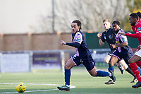 Reisse Allassani of Dulwich Hamlet races behind the defence during Harlow Town vs Dulwich Hamlet, Buildbase FA Trophy Football at The Harlow Arena on 11th November 2017