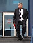 St Mirren chairman Stewart Gilmour leaving today's SPL AGM at Hampden
