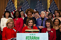Speaker of the United States House of Representatives Nancy Pelosi (Democrat of California), alongside several House Democrats and advocates for the amendment, delivers remarks during a news conference on removing the deadline for ratifying the Equal Rights Amendment at the United States Capitol in Washington D.C., U.S. on Wednesday, February 12, 2020.  <br /> <br /> Credit: Stefani Reynolds / CNP/AdMedia