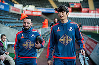 (L-R ) Leon Britton of Swansea and Ki Sung-Yueng of Swansea arrives at the Liberty Stadium prior to the Barclays Premier League match between Swansea City and West Ham United played at the Liberty Stadium, Swansea  on December 20th 2015