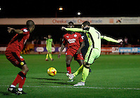 Exeter City's Ryan Harley plays the ball into the box during the Sky Bet League 2 match between Crawley Town and Exeter City at Broadfield Stadium, Crawley, England on 28 February 2017. Photo by Carlton Myrie / PRiME Media Images.