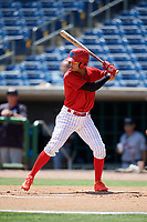 Clearwater Threshers shortstop Arquimedes Gamboa (7) at bat during a game against the Lakeland Flying Tigers on May 2, 2018 at Spectrum Field in Clearwater, Florida.  Clearwater defeated Lakeland 7-5.  (Mike Janes/Four Seam Images)