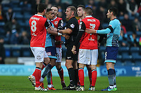 Paris Cowan-Hall of Wycombe Wanderers is moved way by the Referee during the Sky Bet League 2 match between Wycombe Wanderers and Morecambe at Adams Park, High Wycombe, England on 12 November 2016. Photo by David Horn.