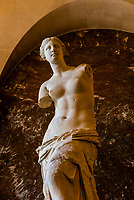Statue of Venus de Milo (Aphrodite), Greek and Roman antiquities, Louvre Museum, Paris, France.
